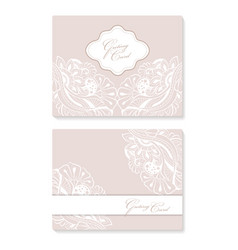 set invitation card with lace decoration for vector image vector image