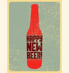 beer typographic vintage grunge christmas card vector image