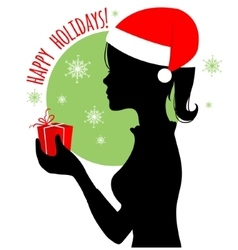 Black silhouette of Santa woman with gift vector image