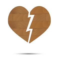 broken heart wooden vector image