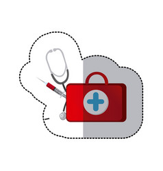 color suitcase health with stethoscope and syringe vector image