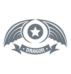 dragon wing logo simple gray style vector image