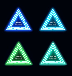 Neon light triangles set techno frame collection vector