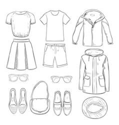 sketch clothes for walk set vector image vector image