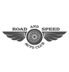 Wheel and wings vintage car emblem badge vector image vector image