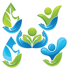 collection of ecological people vector image vector image