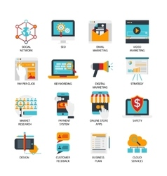Digital marketing flat icons set vector
