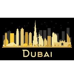 Dubai city skyline with golden skyscrapers vector