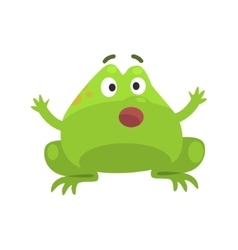 Green Frog Shocked Funny Character Childish vector image