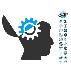 Open Mind Gear Icon With Air Drone Tools Bonus vector image