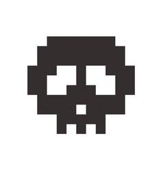 pixel skull pixel art cartoon retro game style vector image vector image