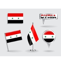 Set of Syrian pin icon and map pointer flags vector image