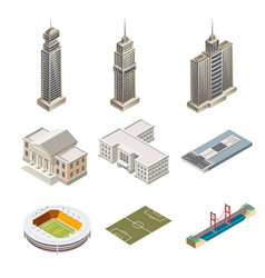 skyscrapers and building isolated vector image vector image