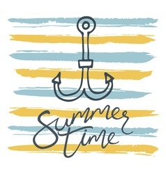 summer time anchor and stripes vector image