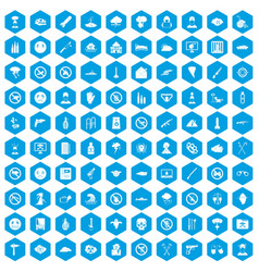 100 tension icons set blue vector image