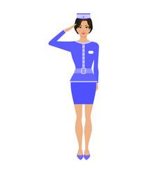 cartoon stewardess girl in uniform vector image