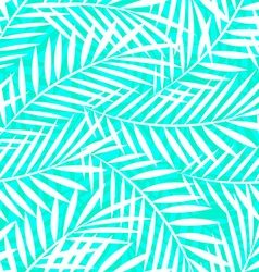 Tropical white and green palm tree leaves seamless vector image