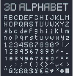 3d pixel alphabet retro game style font vector image