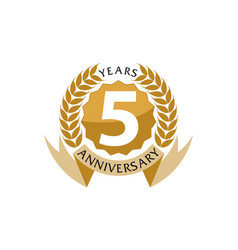5 years ribbon anniversary vector
