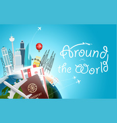 around the wotld concept with logo travel vector image