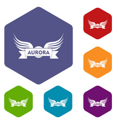 Aurora wing icons hexahedron vector