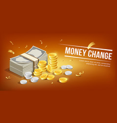 banknote and gold coins with silver coins mpney vector image