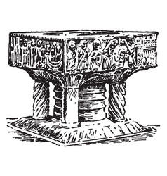Baptismal font at winchester cathedral vintage vector