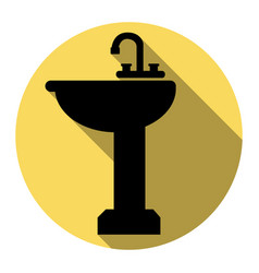 bathroom sink sign flat black icon with vector image
