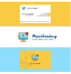 beautiful avatar on monitor logo and business vector image