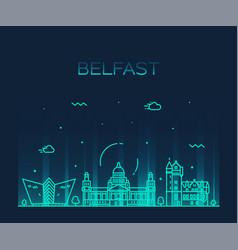Belfast skyline northern ireland line city vector