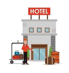 Bellboy baggage hotel service icon vector