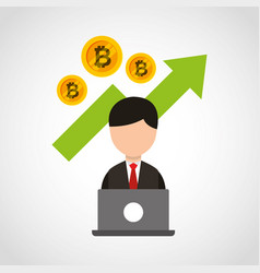Bitcoins investment business icons vector