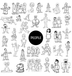 Black and white cartoon people collection vector