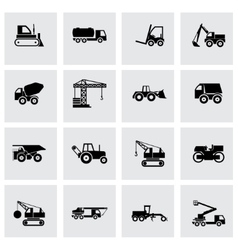 Black construction transport icon set vector