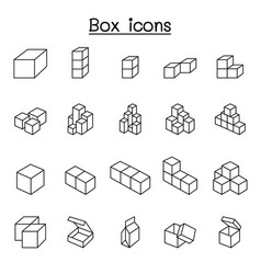 box icons in thin line style vector image