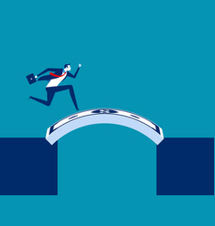 Businessman running cross money bridge concept vector
