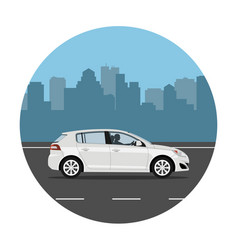 Car on city background vector