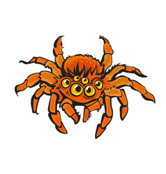 Cartoon red gigantic spider halloween character vector