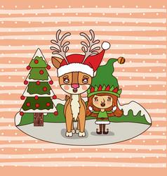 christmas card with christmas tree and reindeer vector image