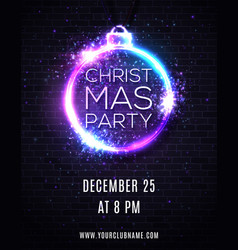 christmas party night background poster template vector image