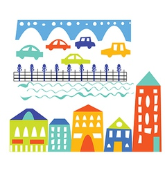 City elements - houses cars bridge vector