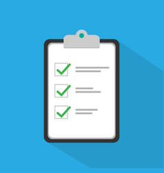 Clipboard with checklist icon flat clipboard vector