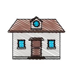 color crayon stripe cartoon facade comfortable vector image