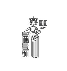 concept of goddess with book vector image