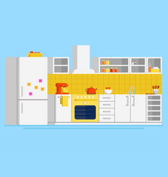 Convenient modern kitchen flat design vector