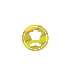 Cooker with mustache smile and wear a big hat vector