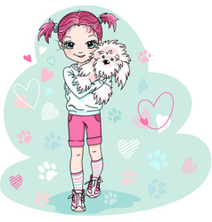 cute bagirl with puppy vector image