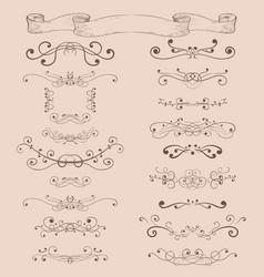 decorative ornaments blue elements on vintage vector image