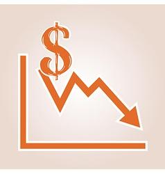 Decreasing graph with dollar symbol vector