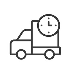 delivery truck and clock sign fast shipping icon vector image